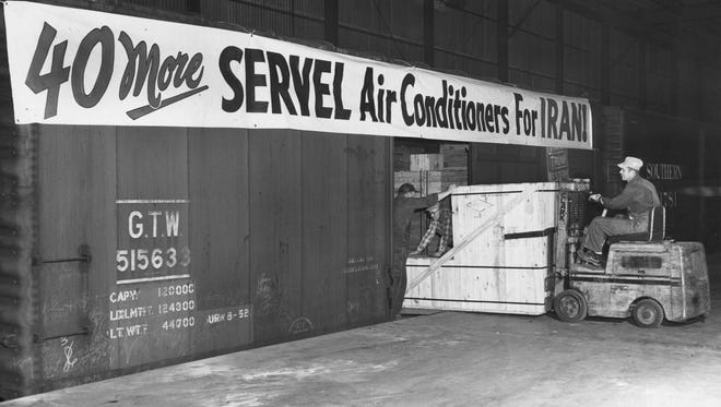 On March 2, 1956, warehouse workmen at Servel loaded one of six railroad cars, carrying 40 all-year gas air conditioners and 50 cooling towers, to the Port in New York City. The