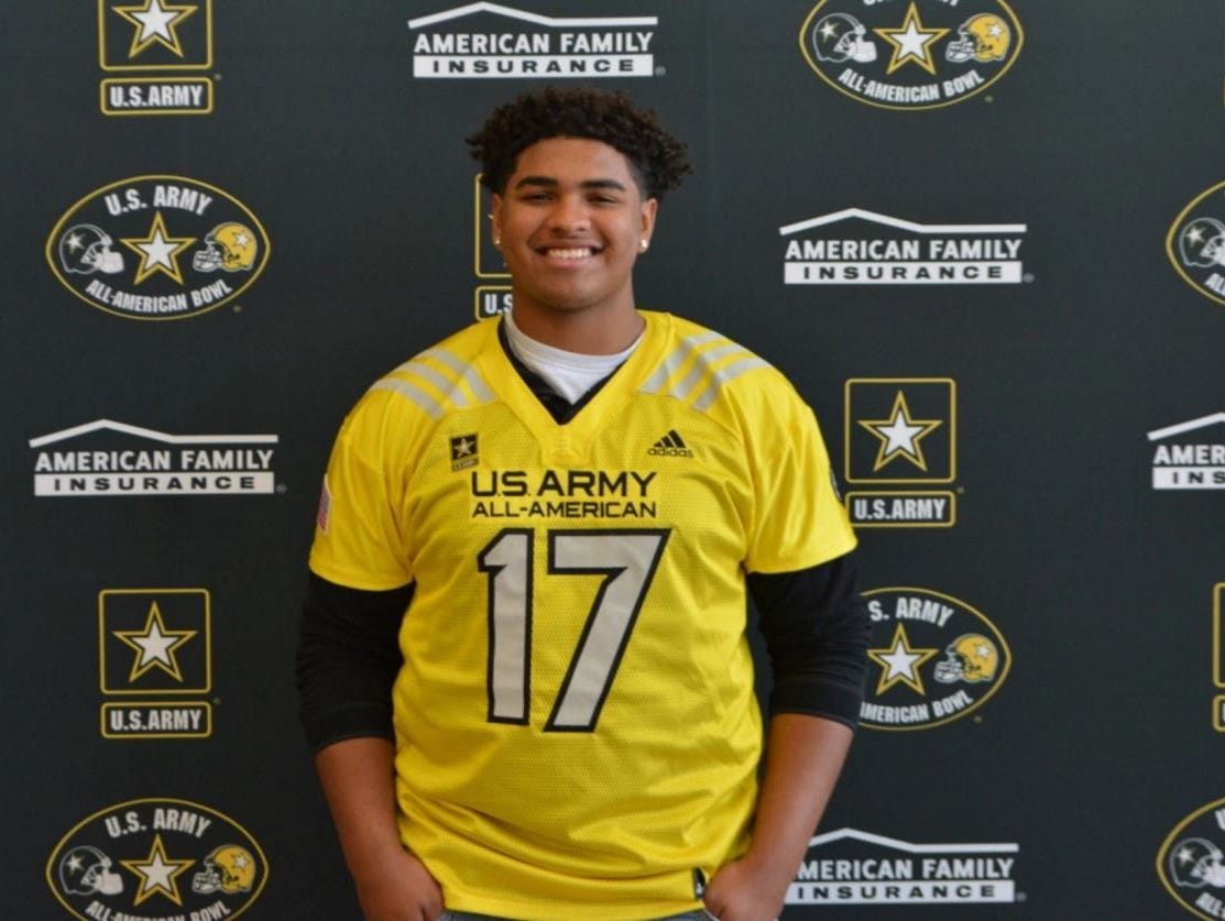 Tristan Wirfs played left tackle for the West team at last Saturday's U.S. Army All-American Bowl in San Antonio, Texas.