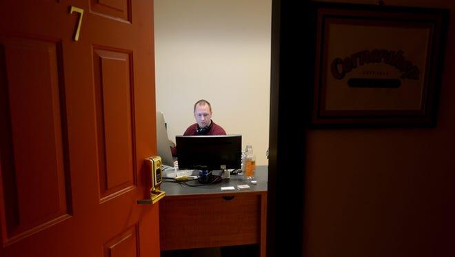 Ben Byrne works for Cornershop Creative Thursday, July 9, 2015, inside the Innovation Center on East Main Street in Richmond.