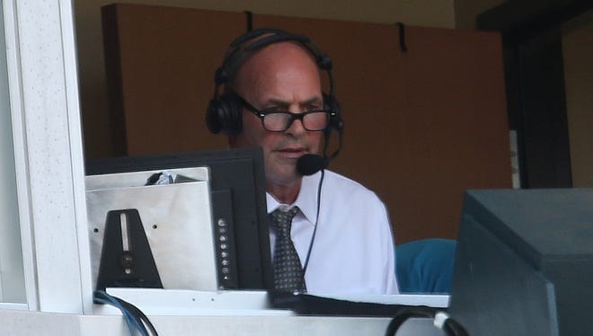Former Detroit Tiger Kirk Gibson calling the action for Fox Sports Detroit during the game against the Pittsburgh Pirates on Thursday, July 2, 2015 at Comerica Park in Detroit.
