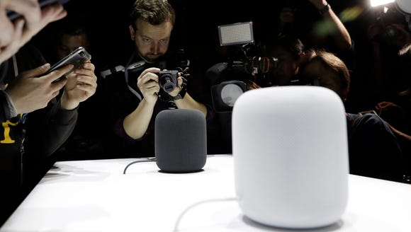 The HomePod speaker is shown during an announcement of new products at the Apple Worldwide Developers Conference on  June 5, 2017, in San Jose.