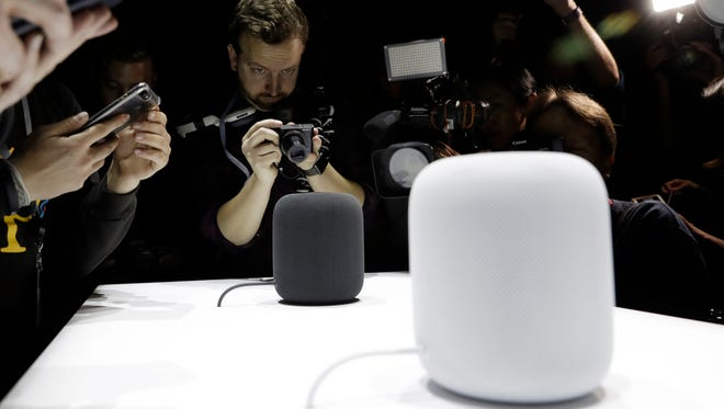 The HomePod speaker is photographed in a a showroom during an announcement of new products at the Apple Worldwide Developers Conference on June 5, 2017, in San Jose.