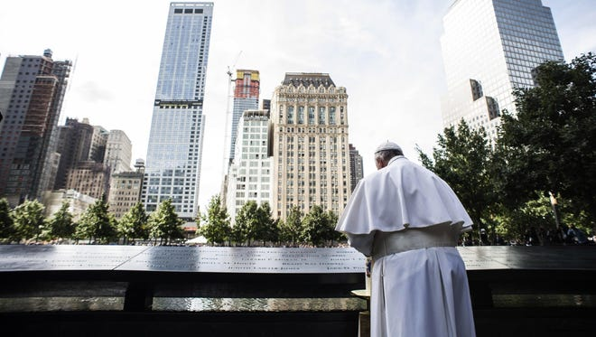 Pope Francis visits the Sept. 11 Memorial Museum at Ground Zero in New York last month.