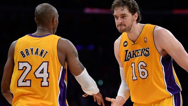 Los Angeles Lakers stars Kobe Bryant and Pau Gasol.