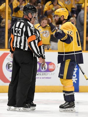 Nashville Predators center Mike Fisher (12) questions the referee on the no-goal during the second period of game 6 of the Stanley Cup Final at Bridgestone Arena Sunday, June 11, 2017, in Nashville, Tenn.
