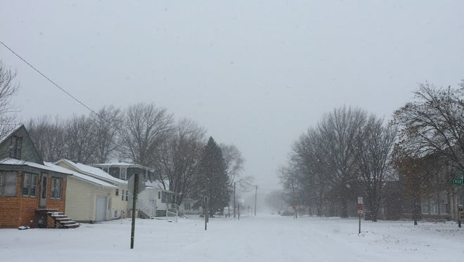Snow on Monday, Feb. 5, reminded Iowa County residents that it is still winter and still six weeks to go. This is at Short Avenue and East Hilton Street, near Iowa Valley High School in Marengo.