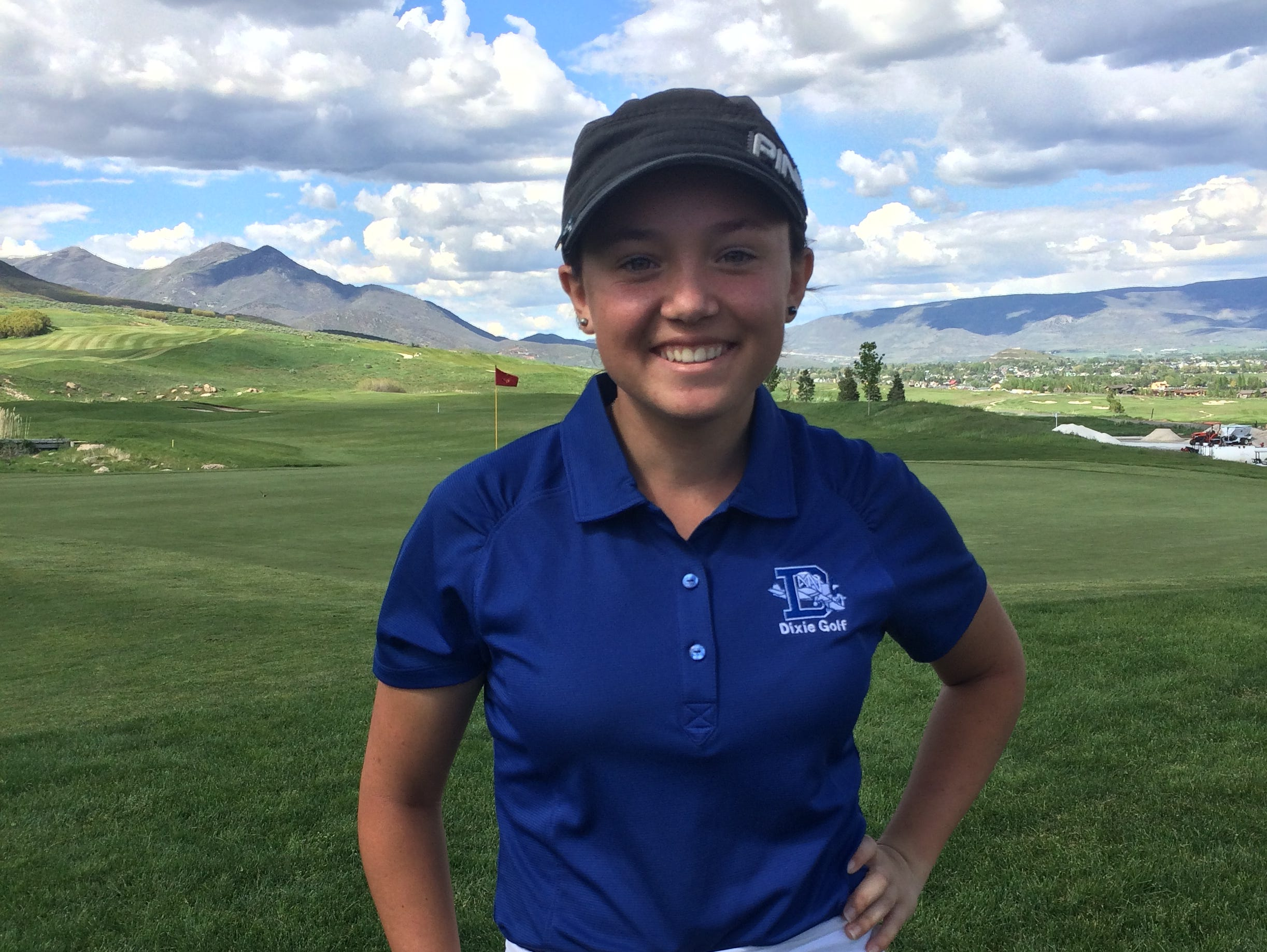 Dixie's Gracie Richens poses for a picture after tying Desert Hills' Kyla Smith for the top score of the day at Soldier Hollow on Wednesday.
