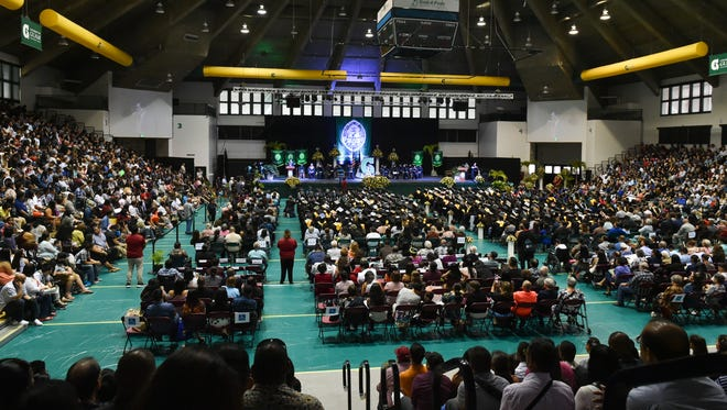 Thosands pack the University of Guam Calvo Field House for the UOG Spring 2017 Commencement Ceremony in Mangilao on May 21, 2017.