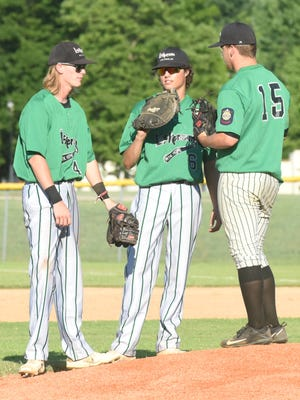 Lockeroom players (from left) Gage McClain, Dalton Roork and Hunter Wojcik talk things over between innings during a recent game. All three pitched this weekend as Lockeroom won three of its four games Saturday and Sunday.