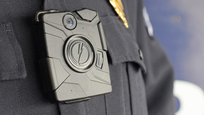 Eagle-GazetteThe Lancaster (Ohio) Police Department body cameras are worn on the chest, with a clip attaching the camera to the uniform. The Lancaster Police Department body cameras are worn on the chest with a clip attaching the camera to the uniform. Jess Grimm/Eagle-Gazette
