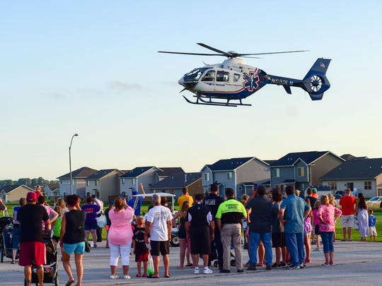 The air ambulance takes off for a call on Aug. 2, 2016, during National Night Out at Altoona Christian Church.