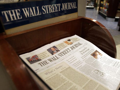 The Wall Street Journal is shown on sale at Hudson News in Grand Central Terminal in New York City.
