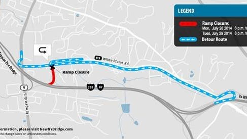 Map showing the detour near the Thruway entrance in Tarrytown.