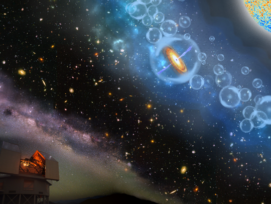 Artist's conception of the discovery of the most-distant
