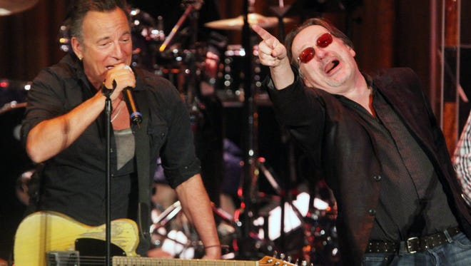 Southside Johnny Lyon (right) and Bruce Springsteen in January, 2015 at the annual Light of Day on stage at the Paramount Theatre in Asbury Park.