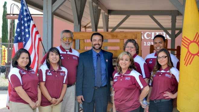 Pictured from left are: SkillsUSA State Officer Monica Mercado, Karima Acosta, Courtesy Corps; SkillsUSa Adviser David Monjaras, Dr. Romero, Mary Monjaras, adviser; Mary Anderson, adviser; state officer Shawn Roberts and Mariah Edwards of the Courtesy Corps.