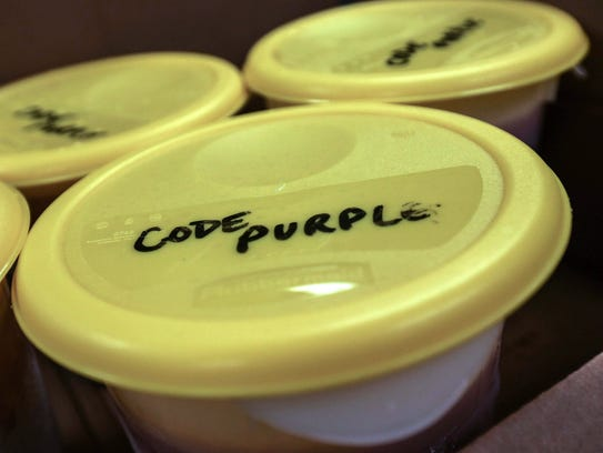 At Code Purple shelters across the state, homeless people coming in out of the cold when temperatures reach 32 degrees or less receive a hot dinner and breakfast.