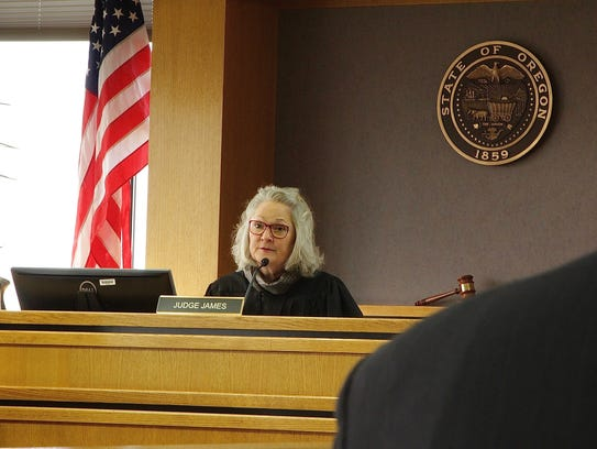 Judge Mary James sentences Sophia Downing to 220 months in prison for striking three teenagers and killing two teens at Chemeketa Community College on Sept. 23, 2010. James hands down a sentence of roughly 18 years in prison on Monday, Jan. 22, 2018.
