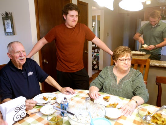 Jim (left) and Linda Frentz finish up their meal as