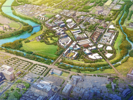An aerial view of what the 16 Tech district could look