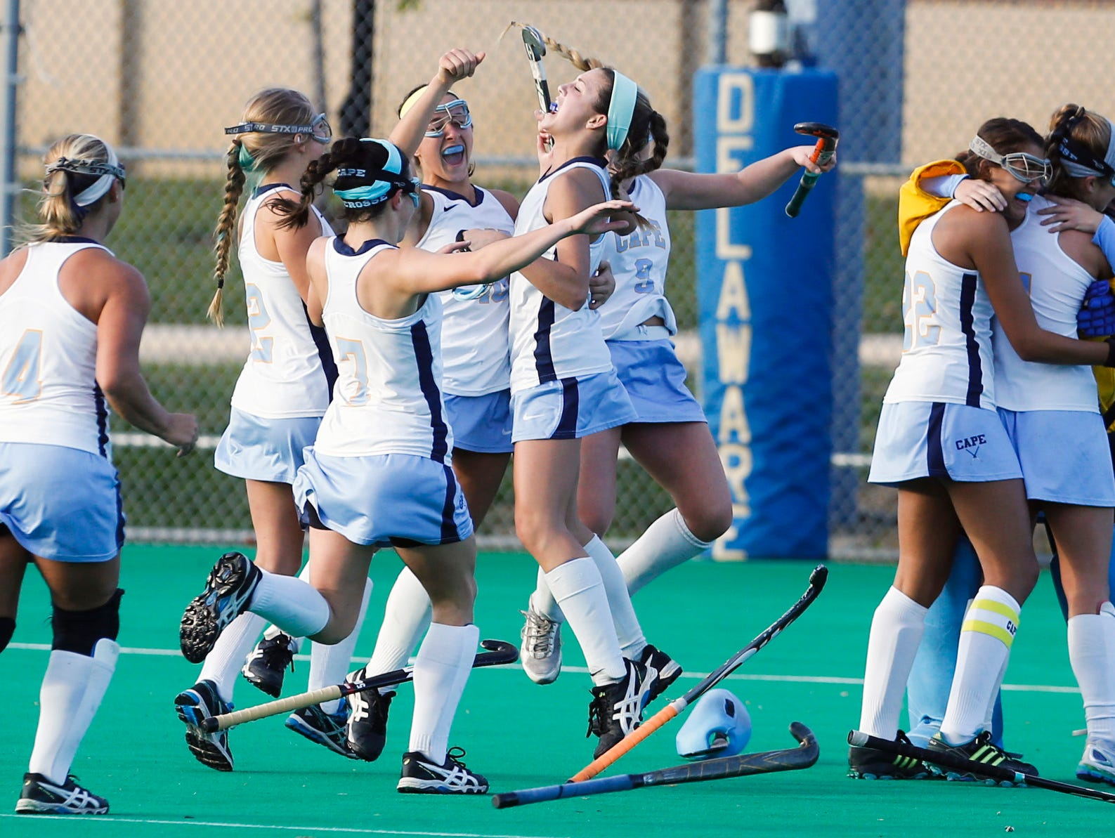 Cape Henlopen celebrates after beating Delmar 3-1 for a fifth straight win in the DIAA state title game Saturday at Rullo Stadium.