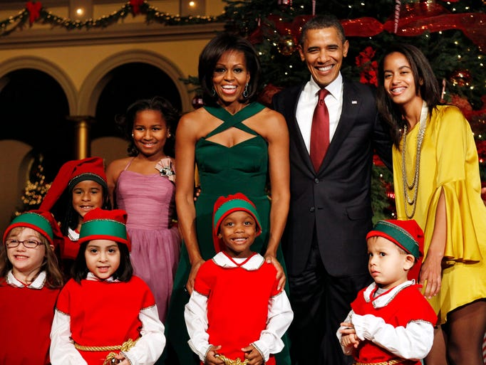 The First Family, Sasha Obama, back left, First Lady