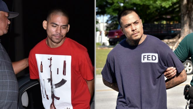 Albert Babauta Santos II, left, and Jeremiah Santos Isezaki are shown in this combined photo. Santos was arrested Wednesday, June 7, 2017. Isezaki was arrested Friday, June 9, 2017.