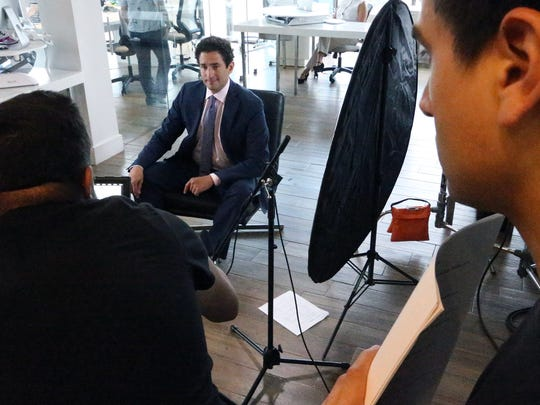 Carlos Garcia, CEO and founder of Finhabits, stars in the startup's first TV commercial filmed in a West El Paso office building.