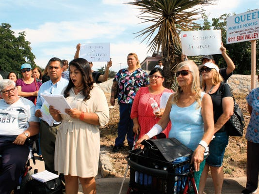 Veronica Miskimen talks about a lawsuit residents of the Queens Mobile Home Estates filed against landlord JP El Paso 1 LLC in Northeast El Paso on Wednesday.