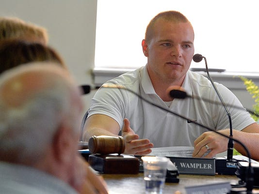 West York Borough Council President Garrett Wampler asks council members for their ideas to help balance a budget shortfall during a meeting Monday, August 16, 2015.  John A. Pavoncello - jpavoncello@yorkdispatch.com
