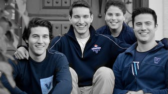 This year's Christmas card shows just how much Villanova basketball and the Families for Freedom Scholarship Fund means to this Tinton Falls family, inlcduing (left to right):  Christian Berger, Nick Berger, Ben Tortorici and Alex Berger.