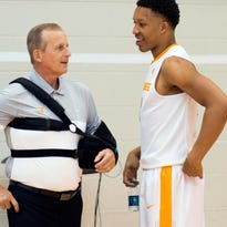 Tennessee head coach Rick Barnes meets with Grant Williams during at Media Day at Pratt Pavilion on Wednesday, October 26, 2016.