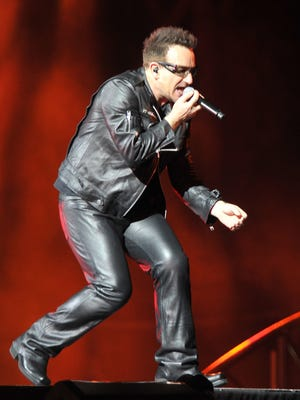 Bono of U2 is performing at Vanderbilt University's Dudley Field on July 2, 2011. U2 announced Monday, Jan. 9, 2017, that they will be performing at Bonnaroo Music and Arts Festival in June 2017.