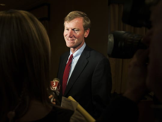Scott Milne is interviewed during the GOP party in the Emerald Grand Ballroom at the Sheraton on Tuesday night November 4, 2014 in Burlington..