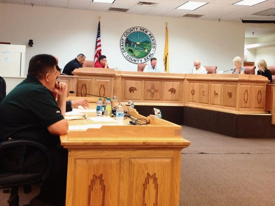 Grant County Sheriff Raul Villanueva, left, discusses proposed changes to sheriff's office policies with the County Commissioners during Tuesday's work session in Silver City. Randal Seyler - Sun-News