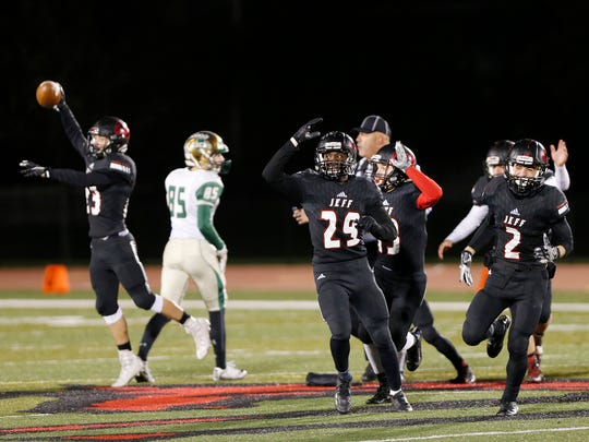 Lafayette Jeff players celebrate after recovering a Westfield fumble with 2:45 remaining in the football sectional Friday, October 27, 2017, at Scheumann Stadium. Jeff defeated Westfield 27-24.