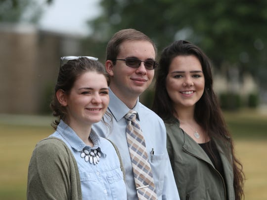 Gabby Sanfilippo, Andrew Roth and Holly Neva at Flushing High School in Flushing on Friday, July 8, 2016. The three students hope to attend the Republican Convention in Cleveland.