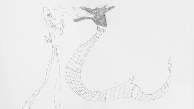 """Knight Toasting Marshmallows"" by Martin Heidebrecht, grade four, Mill Road Intermediate School, Red Hook."