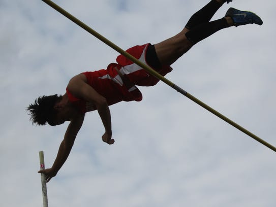 Leon's Sebastian Campo finished third in pole vault