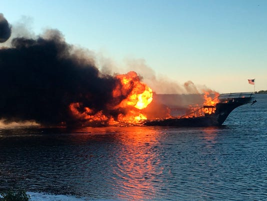 AP CASINO SHUTTLE BOAT FIRE A USA FL