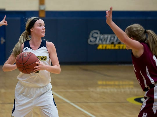 Skippers sophomore guard Madison Valko looks to pass during a game against the Rochester College junior varsity team this season.