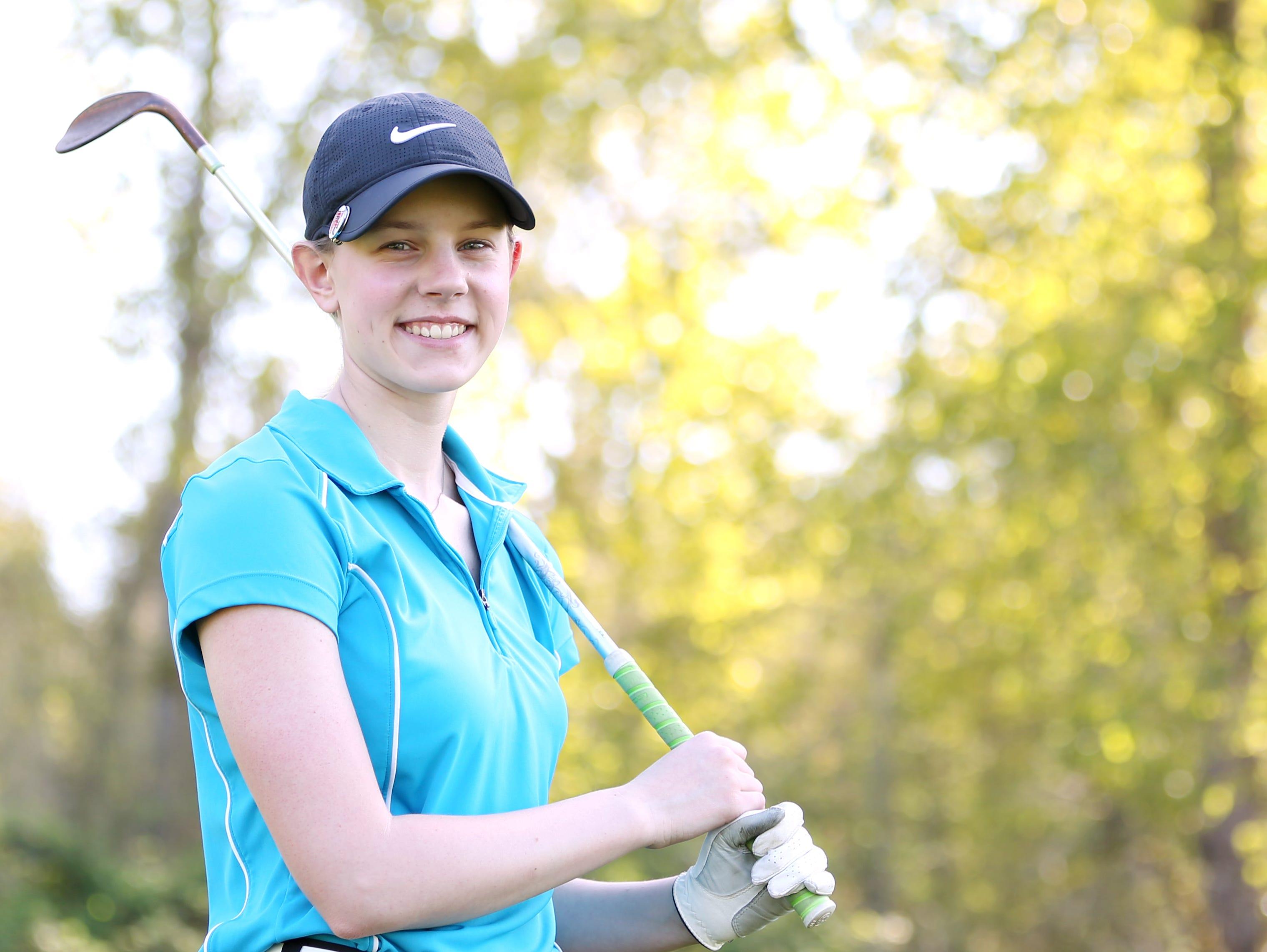 North Salem's Jessica Braun practices Thursday, March 31, 2016, at Salem Golf Club in South Salem.