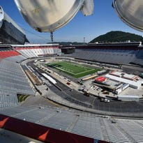 The green turf is completely down and Bristol Motor Speedway is hosting a press briefing Monday, August 29, 2016 followed by a tour to see the progress of the transformation from iconic NASCAR short-track to the site of the world's largest college football game.