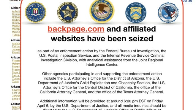 This screen shot from the Canadian version of Backpage on April 6, 2018, contains what appears to be a notice from federal authorities that the website has been seized.