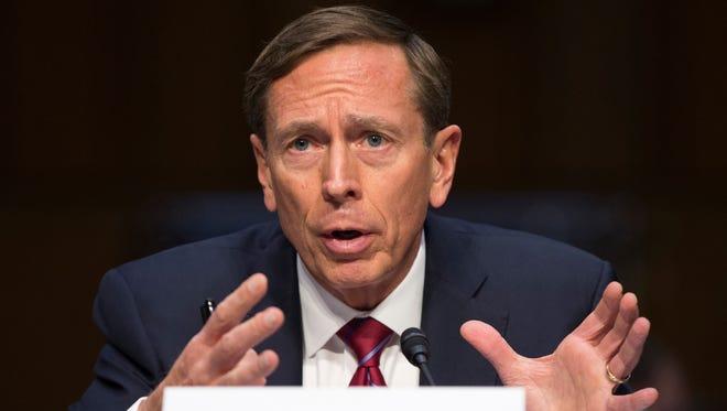 Former CIA Director David Petraeus testifies on Capitol Hill in Washington on Sept. 22, 2015.