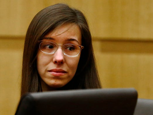 Jodi Arias looks to her mother after being found guilty