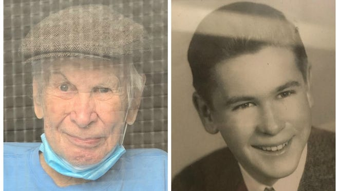 Francis Cashin, now, 94, pictured at left after surviving COVID-19, is also seen in a 1944 picture, right, when he was a student at Brockton High School.