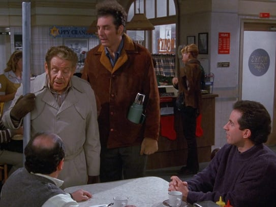 Frank Costanza (Jerry Stiller), with Festivus pole,