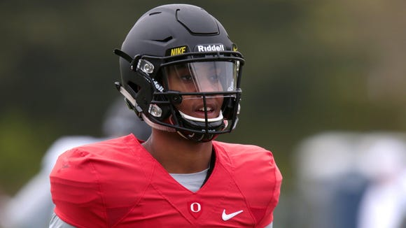 Apr 21, 2017; Eugene, OR, USA; Oregon Ducks quarterback Travis Jonsen (11) warms up during spring practice at the Oregon Ducks outdoor practice facility. Mandatory Credit: Scott Olmos-USA TODAY Sports
