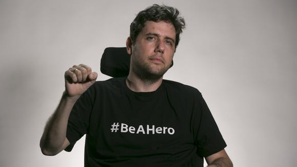 Democratic activist Ady Barkan visits the Arizona Republic